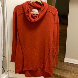 Orange Cowl Neck Tunic